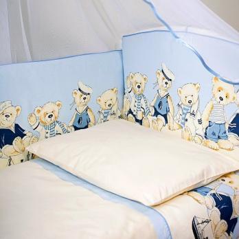 """1005-Бортик в кроватку Lappetti """"Морячки""""  Голубой"""