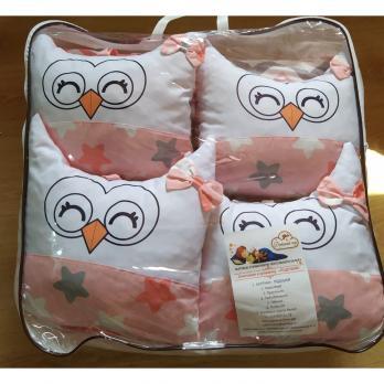 """Набор 0225 """"Совушки"""" Роз. 6пр.(подушки) в кроватку"""