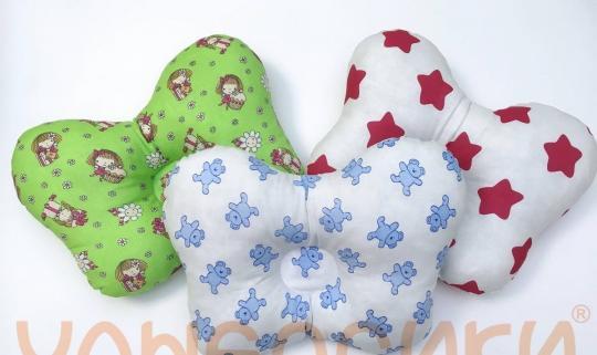 У2189- Ортопедическая детская подушка (бабочка) для новорожденных