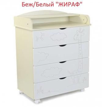 """Комод  СКВ  """"Жираф"""" пеленальный 80см. 4 ящика"""